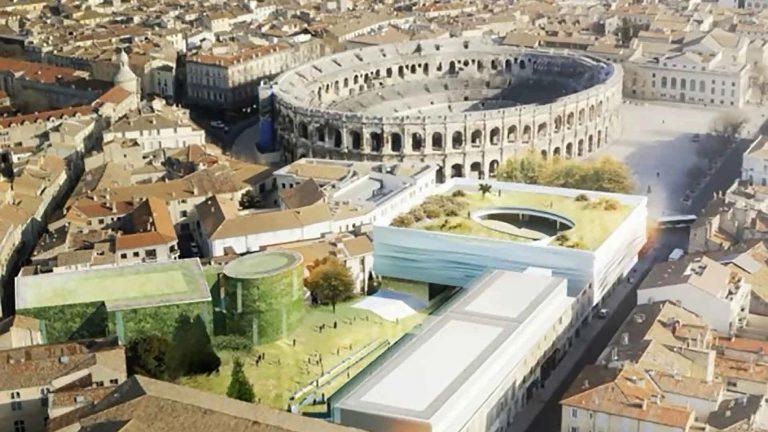 Chantier du Musée de la Romanité et restauration de l'amphithéâtre de Nîmes (Gard)